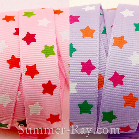 Colorful Stars Printed Grosgrain Ribbon 16 mm - 5 yards