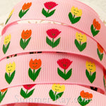 Enchanted Tulip Printed Grosgrain Ribbon 10 mm 16 mm - 5, 10 or 25 yards