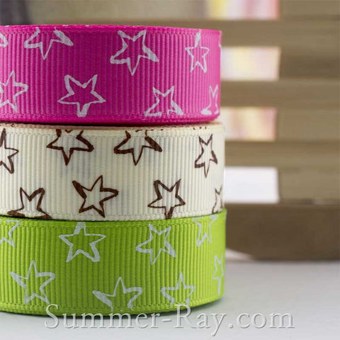 Twinkle Star Printed Grosgrain Ribbon 16 mm - 5, 10 or 25 yards