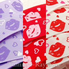 Valentine Lips Printed Grosgrain Ribbon 10 mm 16 mm - 5, 10 or 25 yards