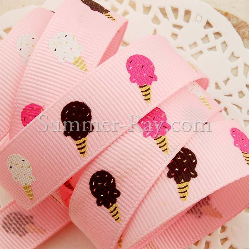 Ice Cream Printed Grosgrain Ribbon 16 mm - 5 or 10 yards