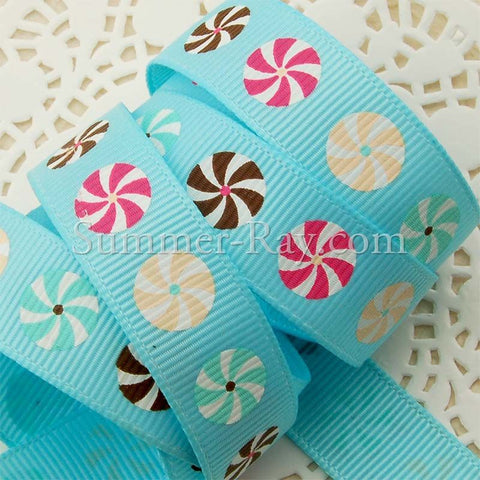 Whirling Circle Printed Grosgrain Ribbon 16 mm - 5 or 10 yards