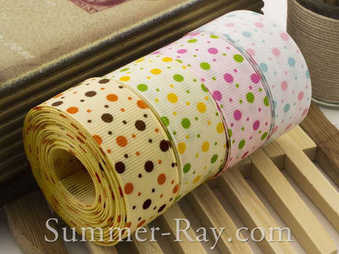 Multi Dots Printed Grosgrain Ribbon 22 mm - 10 yards