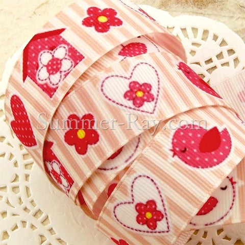Chirping Bird with Heart Printed Grosgrain Ribbon 22 mm - 5 or 10 yards