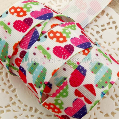 Colorful Cartoon Heart Printed Grosgrain Ribbon 22 mm - 5 or 10 yards