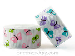 Colorful Butterfly Printed Grosgrain Ribbon 10 mm 16 mm 25 mm - 5, 10 or 25 yards