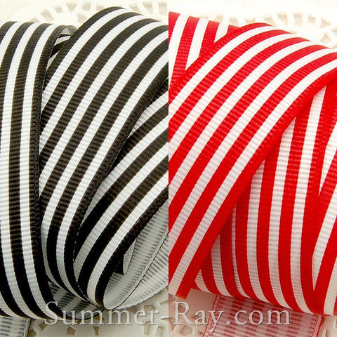 Stripes Printed Grosgrain Ribbon 25 mm - 5 or 10 yards