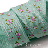 Vintage Blossom Printed Grosgrain Ribbon 25 mm  38 mm - 10 yards