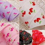 Heart Cherry Printed Grosgrain Ribbon 10 mm 16 mm 25 mm 38 mm - 5, 10 or 25 yards