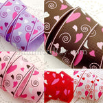 Whirling Heart Printed Grosgrain Ribbon