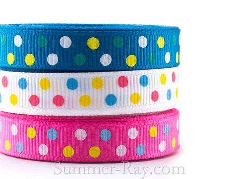 Multi Swiss Dot Printed Grosgrain Ribbon 10 mm - 5 or 10 yards