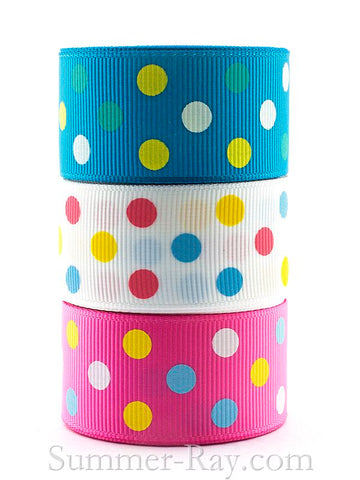 Multi Swiss Dot Printed Grosgrain Ribbon 25 mm - 5 or 10 yards