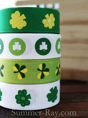 St Patrick's Day Printed Grosgrain Ribbon 10 mm - 5, 10 or 25 yards