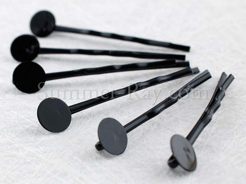 Hair Clip Black Metal Bobby Pins 45mm - 100 pieces