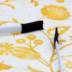Sample of covering tape at the end of a covered headband