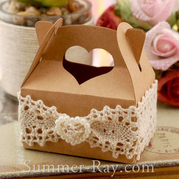 DIY Heart Handle Bomboniere Favor Box with Lace