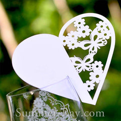 Personalized White Heart Wine Glass Place Card