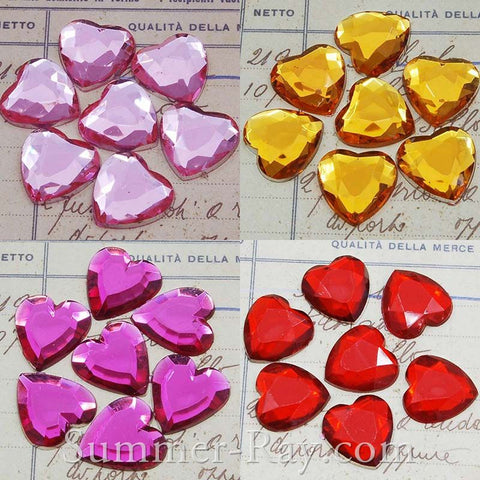 14 mm Heart Rhinestones