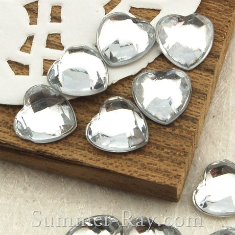 8 mm Globe Cut Heart Rhinestones