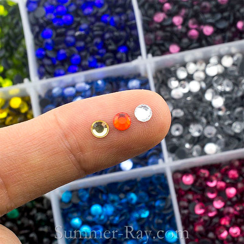 Hot Fix Rhinestones SS16 (4mm) Mixed Color in Storage Box - 7500 pieces