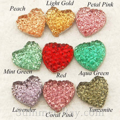 Rhinestones 10mm Icy Heart - 100 or 500 pieces