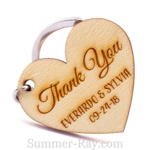 Personalized Engraved Wooden Heart Thank You Key Chain