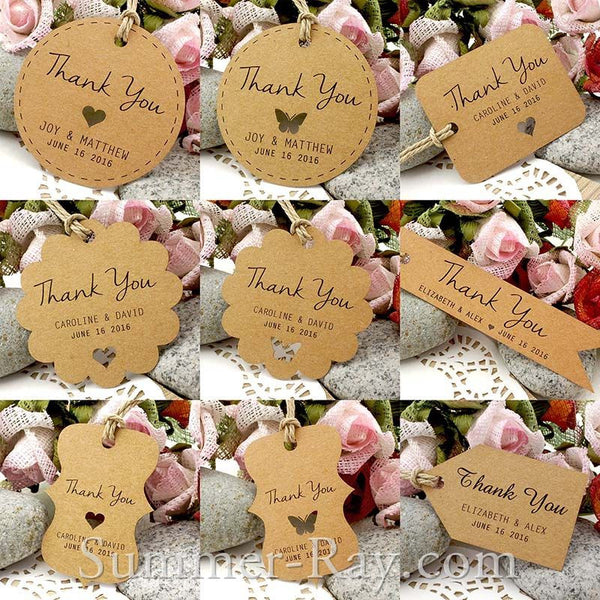 Thank You For Wedding Gift: Personalized Brown Kraft Wedding Favor Tags/ Thank You