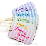 "Personalized ""Love is Sweet"" Wedding Favor Tags / Gift Tags with Thread"