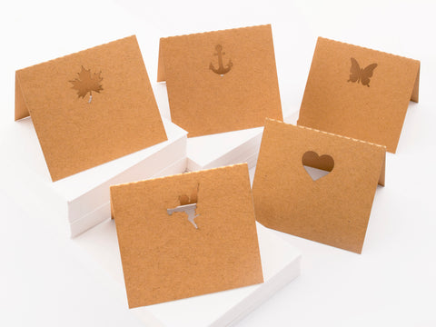 50 Mini Laser Cut Brown Kraft Vintage Frame Party Place Cards