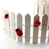 Miniature Fence - with wooden ladybugs (ladybugs sold separately)
