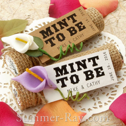 "Personalized ""Mint to Be"" Wedding Favor Tags / Gift Tags with/without Calla Lily"