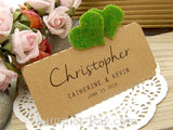 DIY Set Personalized Natural Kraft Love in the Garden Wedding Place Cards - Double Hearts
