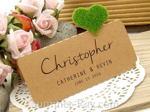 DIY Set Personalized Natural Kraft Love in the Garden Wedding Place Cards - Single Heart