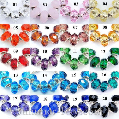 Lampwork Faceted Glass Beads - 10 pieces
