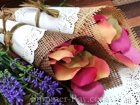 Paper Burlap and Doily Confetti Cone DIY Set