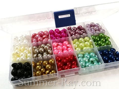 Flat Back Pearls 10mm Mixed Color in Storage Box - 600 pieces