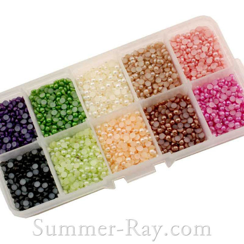Flat Back Pearls 3mm Choose your Colors in Storage Box - 5000 pieces