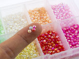 Rhinestones 3mm Glossy Pearl Mixed Color in Storage Box - 4500 pieces