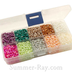 Flat Back Pearls 4mm Mixed Color in Storage Box - 5000 pieces