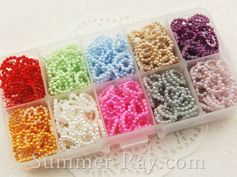 Pearl Beaded Heart 10mm in Storage Box - 500 pieces