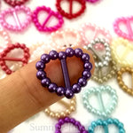Pearl heart buckles/ribbon sliders