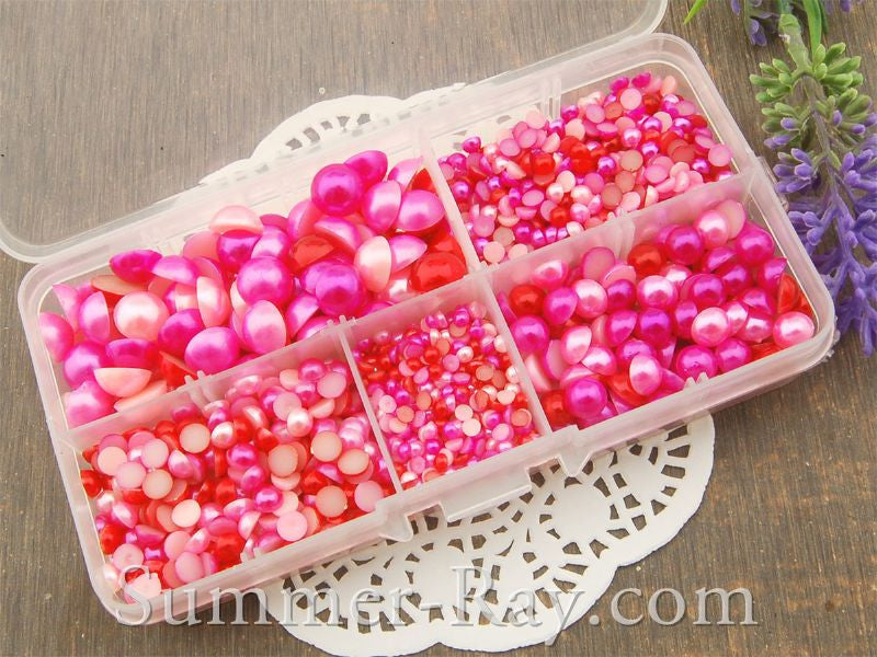 Flat Back Pearls Pink Series in Storage Box - 2000 pieces