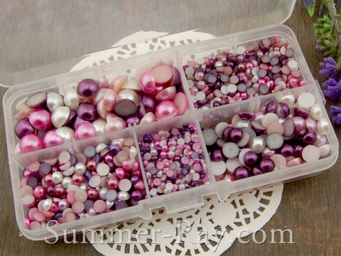 Flat Back Pearls Purple Series in Storage Box - 2000 pieces