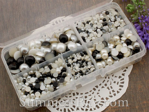 Flat Back Pearls Ebony and Ivory Series in Storage Box - 2000 pieces
