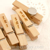 Wooden Peg Engraved Days with Magnet