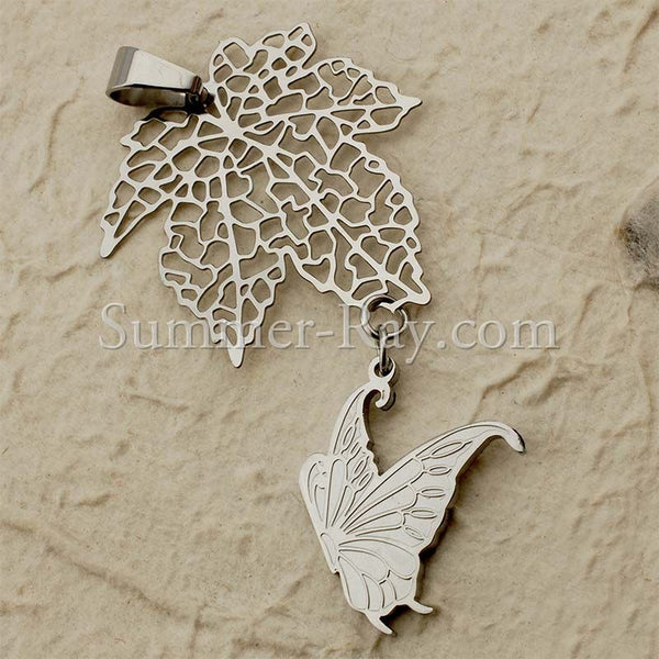Stainless Steel Butterfly & Leaf Pendant - (1) one