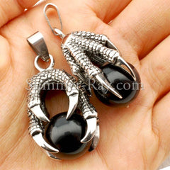 Stainless Steel Gothic Dragon Claw Pendant - (1) one