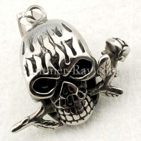 Stainless Steel Skull & Rose Pendant - (1) one