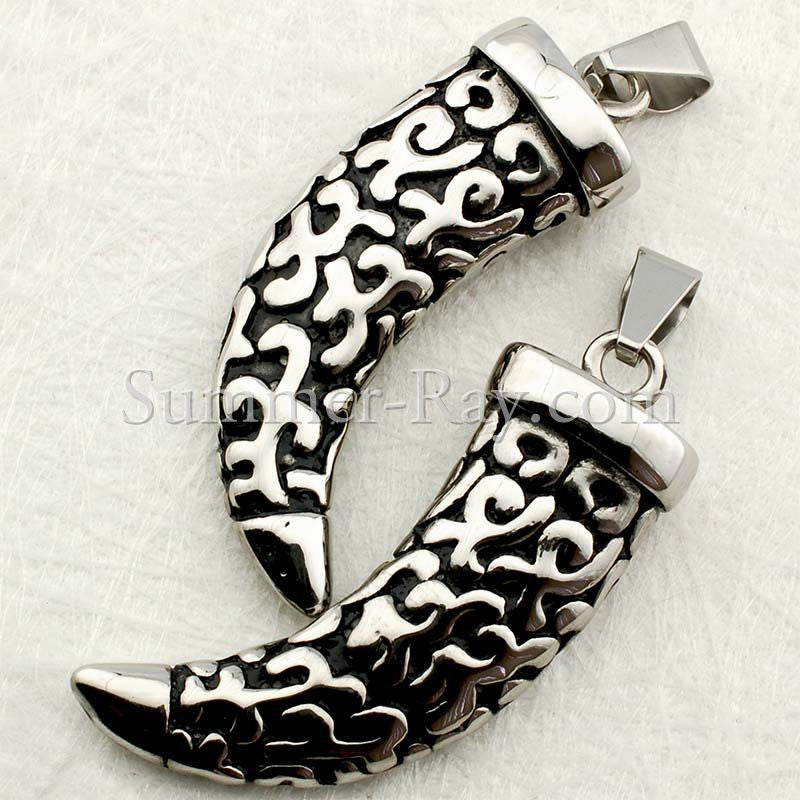 Stainless Steel Wolf Fang Pendant - (1) one