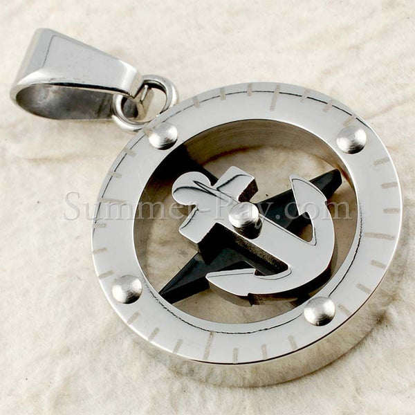 Stainless Steel Naval Compass Pendant - (1) one